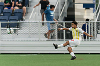 HARTFORD, CT - AUGUST 17: Zeiko Lewis #10 of Charleston Battery passes the ball during a game between Charleston Battery and Hartford Athletic at Dillon Stadium on August 17, 2021 in Hartford, Connecticut.
