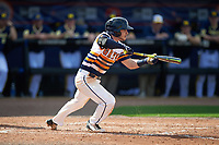 Canisius College Golden Griffins shortstop Anthony Massicci (7) bunts during the second game of a doubleheader against the Michigan Wolverines on February 20, 2016 at Tradition Field in St. Lucie, Florida.  Michigan defeated Canisius 3-0.  (Mike Janes/Four Seam Images)
