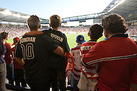 Two generations of fans of the United States Men's National Team watch the USA play against Guatemala at Livestrong Sporting Park in Kansas City, Kansas in a World Cup Qualifier on Tue. Oct. 16, 2012.