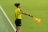 ORLANDO, FL - JANUARY 22: Assistant referee signals an offside during a game between Colombia and USWNT at Exploria stadium on January 22, 2021 in Orlando, Florida.