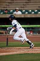 Lynchburg Hillcats left fielder Mitch Longo (10) hits a single during the first game of a doubleheader against the Potomac Nationals on June 9, 2018 at Calvin Falwell Field in Lynchburg, Virginia.  Lynchburg defeated Potomac 5-3.  (Mike Janes/Four Seam Images)