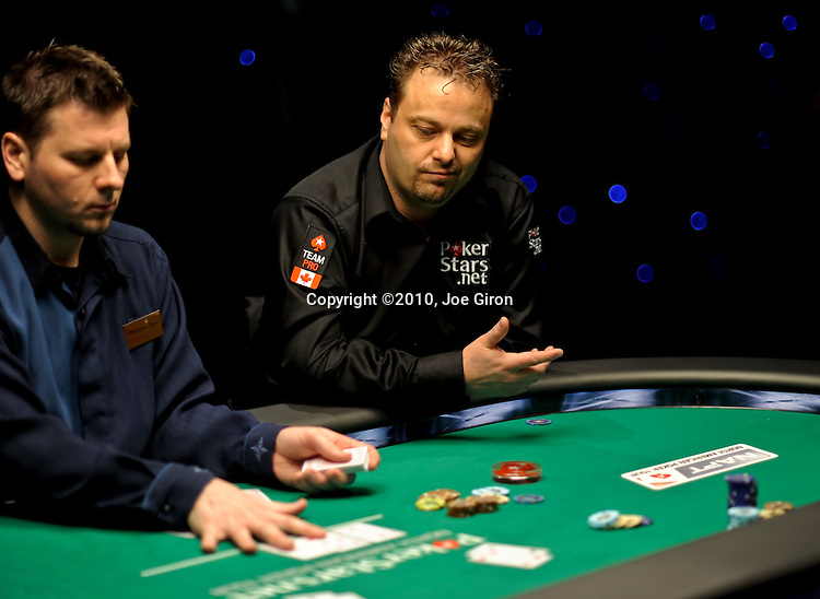 Team Pokerstars.net Canada Pro Pat Pezzin reacts to seeing his opponent hit a set on the flop.