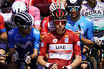 Race leader Tadej Pogacar (SLO) UAE Team Emirates on the line for the start of Stage 3 of the 2021 UAE Tour running 166km from Al Ain to Jebel Hafeet, Abu Dhabi, UAE. 23rd February 2021.  <br /> Picture: Eoin Clarke | Cyclefile<br /> <br /> All photos usage must carry mandatory copyright credit (© Cyclefile | Eoin Clarke)