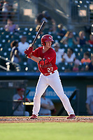 Palm Beach Cardinals Bryce Denton (27) bats during a Florida State League game against the Clearwater Threshers on August 10, 2019 at Roger Dean Chevrolet Stadium in Jupiter, Florida.  Clearwater defeated Palm Beach 11-4.  (Mike Janes/Four Seam Images)