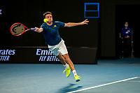 9th February 2021, Melbourne, Victoria, Australia; Gilles Simon of France returns the ball during round 1 of the 2021 Australian Open on February 9 2020, at Melbourne Park in Melbourne, Australia.