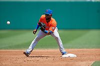 Syracuse Mets second baseman Arismendy Alcantara (10) during an International League game against the Indianapolis Indians on July 17, 2019 at Victory Field in Indianapolis, Indiana.  Syracuse defeated Indianapolis 15-5  (Mike Janes/Four Seam Images)