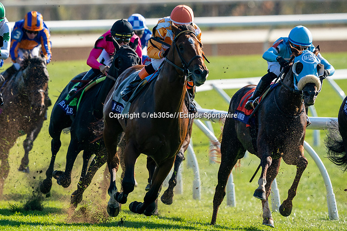 November 6, 2020: Horses race during the Juvenile Turf Sprint on Breeders' Cup Championship Friday at Keeneland on November 6, 2020: in Lexington, Kentucky. Dan Heary/Eclipse Sportswire/CSM