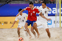 29th August 2021; Luzhniki Stadium, Moscow, Russia: FIFA World Cup Beach Football tournament; Russia versus Japan; Boris Nikonorov of Russia challenges Shusei Yamauchi of Japan, during the match between Russia and Japan