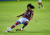 CARSON, CA - SEPTEMBER 19: Lalas Abubakar #6 of the Colorado Rapids turns with the ball during a game between Colorado Rapids and Los Angeles Galaxy at Dignity Heath Sports Park on September 19, 2020 in Carson, California.