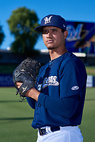 AZL Brewers Blue Harold Chirino (12) poses for a photo before an Arizona League game against the AZL Athletics Gold on July 2, 2019 at American Family Fields of Phoenix in Phoenix, Arizona. AZL Athletics Gold defeated the AZL Brewers Blue 11-8. (Zachary Lucy/Four Seam Images)