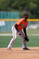 Baltimore Orioles Carlos Baez (52) during a minor league Spring Training game against the Tampa Bay Rays on March 29, 2017 at the Buck O'Neil Baseball Complex in Sarasota, Florida.  (Mike Janes/Four Seam Images)