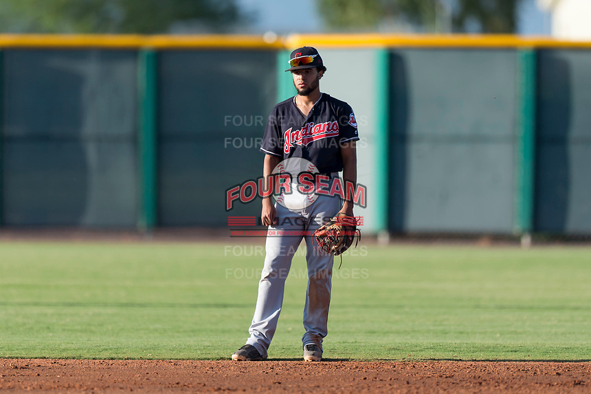 AZL Indians 1 shortstop Marcos Gonzalez (1) during an Arizona League game against the AZL Cubs 1 at Sloan Park on August 27, 2018 in Mesa, Arizona. The AZL Cubs 1 defeated the AZL Indians 1 by a score of 3-2. (Zachary Lucy/Four Seam Images)