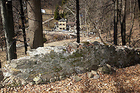 """Switzerland. Canton Ticino. Novaggio. Above the Vinera mill, dry-stone walls on the """"Sentiero delle Meraviglie"""" which is a walking path. This type of wall, always built with material found on the spot. The """"Sentiero delle Meraviglie"""" is a guided trail which is plunged into nature, but every so often signs of human activity appear. Novaggio is located in the Malcantone area. 16.03.2010 © 2010 Didier Ruef"""