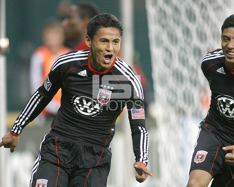 Andy Najar #14 of D.C. United after scoring during a US Open Cup match against F.C. Dallas on April 28 2010, at RFK Stadium in Washington D.C.United won 4-2.
