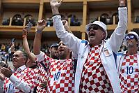 BOGOTA - COLOMBIA – 17 – 09 -2019: Fanáticos de Croacia, celebran la victoria sobre Colombia, durante partido de la Copa Davis entre los equipos de Colombia y Croacia, partidos por el ascenso al Grupo Mundial de Copa Davis por BNP Paribas, en la Plaza de Toros La Santamaria en la ciudad de Bogota. / Fans of Croatia, celebrate the victory over Colombia, during a Davis Cup match between the teams of Colombia and Croatia, match promoted to the World Group Davis Cup by BNP Paribas, at the La Santamaria Ring Bull in Bogota city. / Photo: VizzorImage / Luis Ramirez / Staff.
