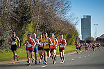 © Joel Goodman - 07973 332324 . 10/04/2016 . Manchester , UK . Front of the 40th Greater Manchester Marathon , on Chester Road . Photo credit : Joel Goodman