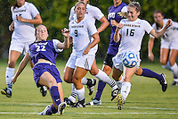 TCU forward Emma Heckendorn (22) defends against Texas State forward Tori Hale (16) during NCAA soccer game, Friday, September 12, 2014 in San Marcos, Tex. TCU defeated Texas State 1-0. (Mo Khursheed/TFV Media via AP Images)