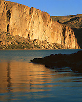 Sunset light on the cliffs above Canyon Lake; Tonto National Forest, AZ