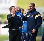 Killie manager Gary Locke celebrates with Billy Thomson