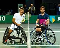 Rotterdam, The Netherlands, 14 Februari 2020, ABNAMRO World Tennis Tournament, Ahoy, Wheelchair: Stephane Houdet (FRA), Alfie Hewett (GBR).<br /> Photo: www.tennisimages.com