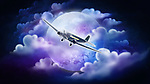 Illustrative image of airplane with full moon in the background representing overnight delivery