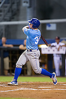 Chris DeVito (34) of the Burlington Royals follows through on his swing against the Danville Braves at American Legion Post 325 Field on August 16, 2016 in Danville, Virginia.  The game was suspended due to a power outage with the Royals leading the Braves 4-1.  (Brian Westerholt/Four Seam Images)