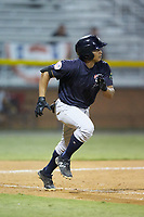 Gustavo Campero (24) of the Pulaski Yankees hustles down the first base line against the Burlington Royals at Burlington Athletic Stadium on August 25, 2019 in Burlington, North Carolina. The Yankees defeated the Royals 3-0. (Brian Westerholt/Four Seam Images)