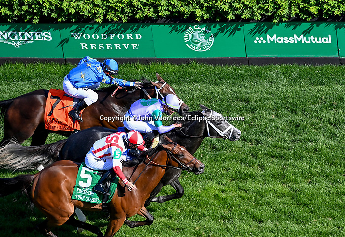 May 1, 2021 : Colonal Liam with Irad Ortiz and Domestic Spending with Flavien Prat win the Old Forester Bourbon Turf Classic in a dead heat on Kentucky Derby Day at Churchill Downs on May 1, 2021 in Louisville, Kentucky. John Voorhees/Eclipse Sportswire/CSM