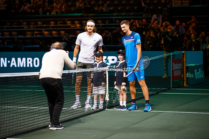 Rotterdam, The Netherlands, 11 Februari 2020, ABNAMRO World Tennis Tournament, Ahoy, <br /> Stefanos Tsitsipas (GRE), Huner Hurkacz (POL). <br /> Photo: www.tennisimages.com