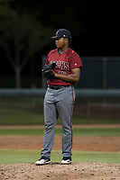 AZL Diamondbacks relief pitcher Ezequiel De La Cruz (14) prepares to deliver a pitch during an Arizona League game against the AZL White Sox at Camelback Ranch on July 12, 2018 in Glendale, Arizona. The AZL Diamondbacks defeated the AZL White Sox 5-1. (Zachary Lucy/Four Seam Images)