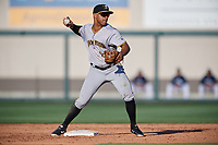 Bradenton Marauders second baseman Trae Arbet (26) turns a double play during the first game of a doubleheader against the Lakeland Flying Tigers on April 11, 2018 at Publix Field at Joker Marchant Stadium in Lakeland, Florida.  Lakeland defeated Bradenton 5-4.  (Mike Janes/Four Seam Images)