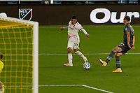 ST PAUL, MN - SEPTEMBER 27: Maikel Chang #16 of Real Salt Lake with a shot during a game between Real Salt Lake and Minnesota United FC at Allianz Field on September 27, 2020 in St Paul, Minnesota.