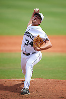 Dartmouth Big Green starting pitcher Michael Danielak (34) delivers a pitch during a game against the South Florida Bulls on March 27, 2016 at USF Baseball Stadium in Tampa, Florida.  South Florida defeated Dartmouth 4-0.  (Mike Janes/Four Seam Images)