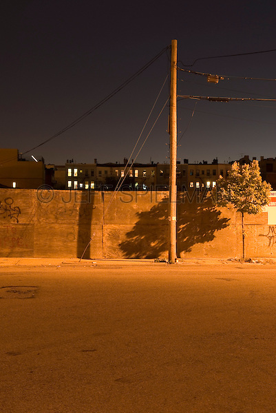 AVAILABLE FROM JEFF AS A FINE ART PRINT.<br /> <br /> AVAILABLE FROM JEFF FOR COMMERCIAL AND EDITORIAL LICENSING.<br /> <br /> Mysterious Urban Street Scene, Illuminated at Night, The Williamsburg neighborhood of Brooklyn, New York City, New York State, USA