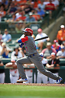 Dominican Republican shortstop Jose Reyes (7) follows through on a swing during a Spring Training exhibition game against the Baltimore Orioles on March 7, 2017 at Ed Smith Stadium in Sarasota, Florida.  Baltimore defeated the Dominican Republic 5-4.  (Mike Janes/Four Seam Images)