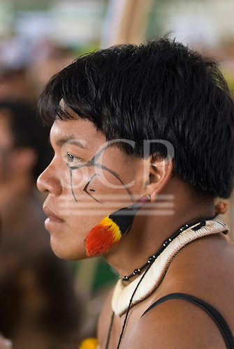 Altamira, Brazil. Encontro Xingu protest meeting about the proposed Belo Monte hydroeletric dam and other dams on the Xingu river and its tributaries. Warrior from the Xingu Indigenous Park.