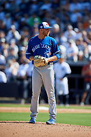 Toronto Blue Jays relief pitcher Justin Shafer (50) looks in for the sign during a Grapefruit League Spring Training game against the New York Yankees on February 25, 2019 at George M. Steinbrenner Field in Tampa, Florida.  Yankees defeated the Blue Jays 3-0.  (Mike Janes/Four Seam Images)