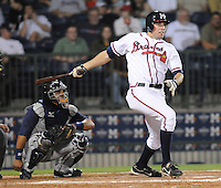 9 April 2008: Greg Creek (25) of the Mississippi Braves hits a triple during the Braves' home opener against the Mobile BayBears at Trustmark Park in Pearl, Miss. Photo by:  Tom Priddy/Four Seam Images