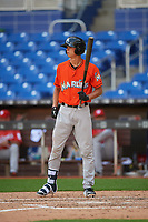 Miami Marlins Connor Scott (24) at bat during a Florida Instructional League game against the Washington Nationals on September 26, 2018 at the Marlins Park in Miami, Florida.  (Mike Janes/Four Seam Images)