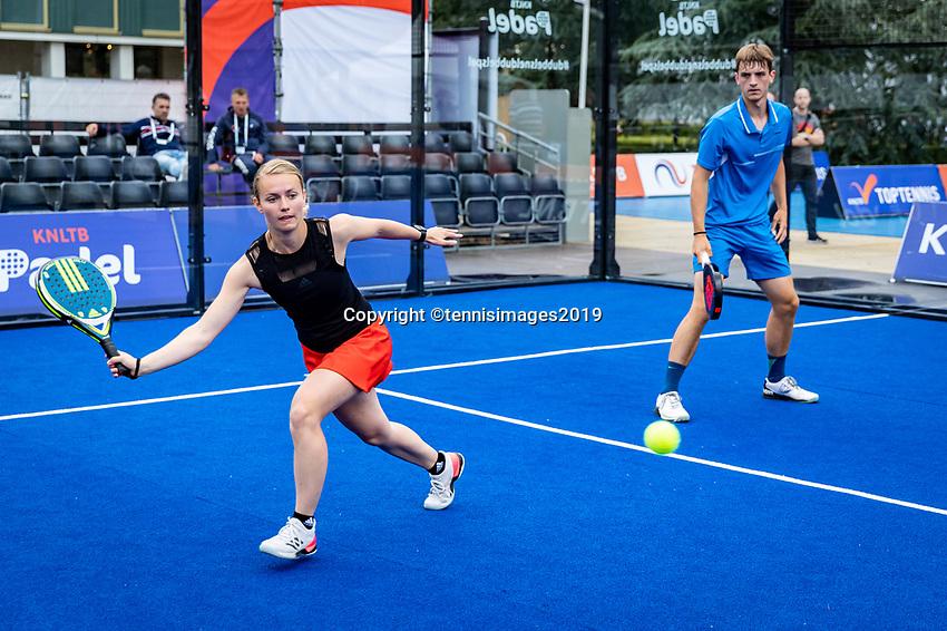 Rosmalen, Netherlands, 15 June, 2019, Tennis, Libema Open, NK Final Padel Mixed: Milou Ettekhoven (NED) and Victor Rutten (NED) <br /> Photo: Henk Koster/tennisimages.com