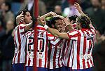Atletico de Madrid's Raul Garcia, Paulo Assuncao celebrate with other players during La Liga match. January 17, 2010. (ALTERPHOTOS/Alvaro Hernandez).