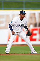 Lake County Captains second baseman Claudio Bautista (10) during a game against the Fort Wayne TinCaps on May 20, 2015 at Classic Park in Eastlake, Ohio.  Lake County defeated Fort Wayne 4-3.  (Mike Janes/Four Seam Images)
