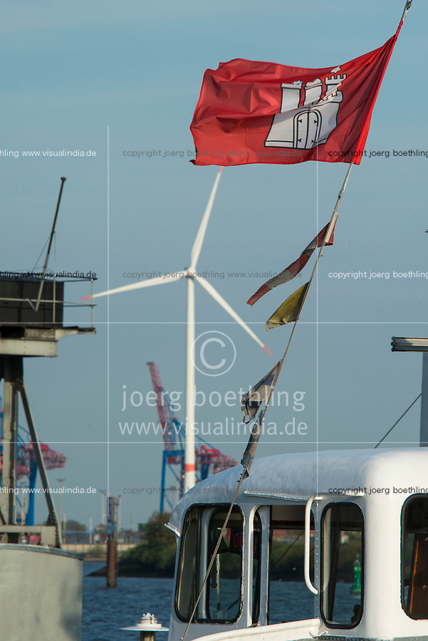 GERMANY, Hamburg, annual port event Hafengeburtstag with ships on river Elbe and Nordex wind turbine at Hamburg Wasser Koehlbrandhoeft / DEUTSCHLAND Hamburg, Hafengeburtstag, Schiffe auf der Elbe vor Nordex Windkraftanlage auf dem Koehlbrandhoeft von Hamburg Wasser