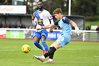 Harrison Male of Worthing clears the ball during Enfield Town vs Worthing, Pitching In Isthmian League Premier Division Football at the Queen Elizabeth II Stadium on 16th October 2021