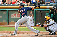 Argenis Diaz (24) of the Reno Aces at bat against the Salt Lake Bees in Pacific Coast League action at Smith's Ballpark on July 24, 2014 in Salt Lake City, Utah.  (Stephen Smith/Four Seam Images)