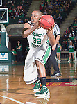 North Texas Mean Green forward Roger Franklin (32) in action during the game between the Louisiana Monroe Warhawks and the University of North Texas Mean Green at the North Texas Coliseum,the Super Pit, in Denton, Texas. UNT defeats ULM 86 to 51...