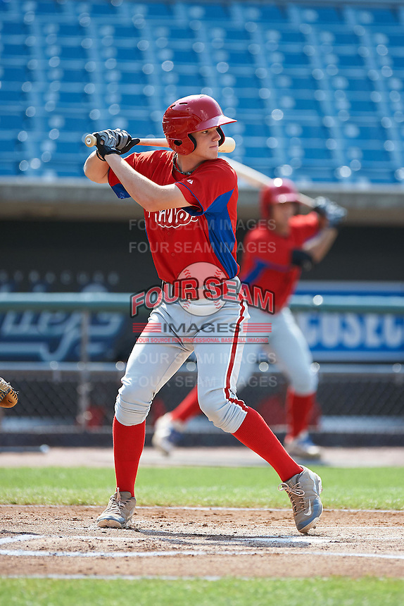 Jonah Heim #7 of Amherst Central High School in Amherst, New York playing for the Philadelphia Phillies scout team during the East Coast Pro Showcase at Alliance Bank Stadium on August 4, 2012 in Syracuse, New York.  (Mike Janes/Four Seam Images)