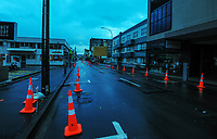 Cuba St, Wellington CBD at 8am, Wednesday during Level 4 lockdown for the COVID-19 pandemic in Wellington, New Zealand on Wednesday, 18 August 2021.