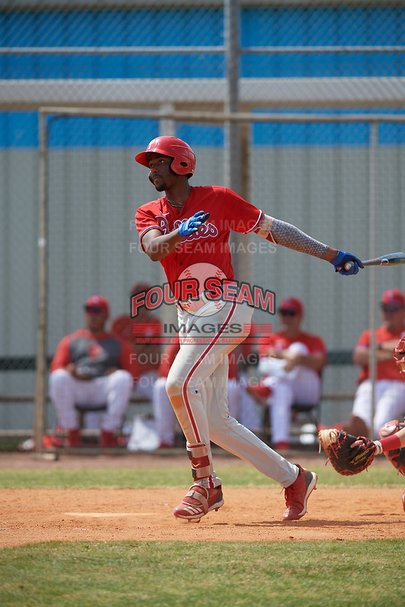 Philadelphia Phillies Carlos De La Cruz (53) bats during an exhibition game against the Canada Junior National Team on March 11, 2020 at Baseball City in St. Petersburg, Florida.  (Mike Janes/Four Seam Images)