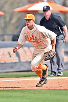 Tennessee Volunteers third baseman Nick Senzel (13) fields the ball during game one of a double header against the UC Irvine Anteaters at Lindsey Nelson Stadium on March 12, 2016 in Knoxville, Tennessee. The Volunteers defeated the Anteaters 14-4. (Tony Farlow/Four Seam Images)